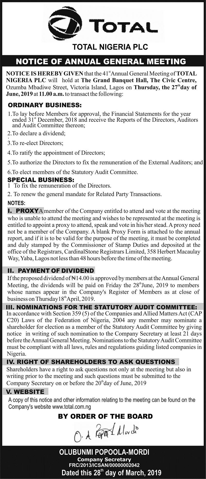 Total Nigeria Plc 41st AGM
